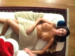 Busty beauty cumsprayed after getting fucked by masseur