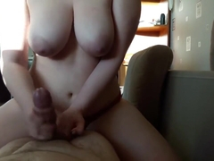 Quality handjob with cum on Tits