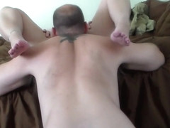 Old guy on his knees licking her pussy