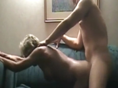Short haired mature wife has great sex on sofa