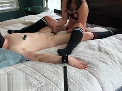 Femdom milking handjob with fuzzy gloves and ruined orgasm! Miss Abbi