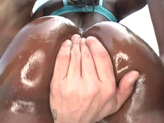 Black oiled ghetto darling Chanel gagging deep