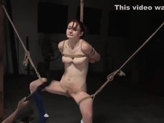 Sub brutally flogged before getting hogtied