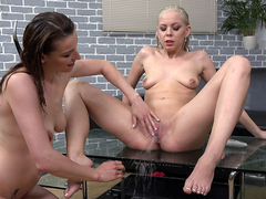 Julia Parker & Victoria Daniels in HD Pissing Video Dominoes - Vipissy