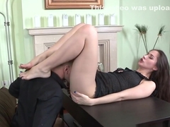 Footjob slut gets oral