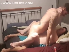 Couple making love, missionary style, kissing and creampie
