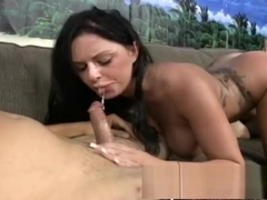 Stacked brunette with sexy legs Kerry Louise sucks, fucks and squirts