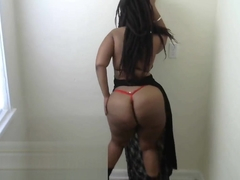 Super Thick Fat Ass BBW Ebony in Black Lace Lingerie Dress - Cami Creams