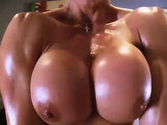24-DD CUP SHORT HAIRED MUSCLE BABE BRACES DOMINATES ME WITH STRAPON