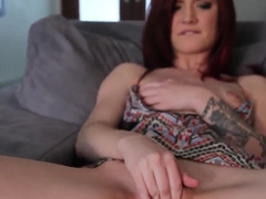 Sasha Pain is gorgeous redhead curve with tattoo