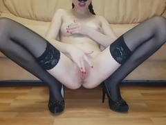 Baby masturbates and squirt orgasm