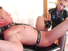 Femdom slut bitch in leather