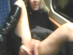kinky couple goes wild on public train