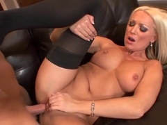 Gorgeous blonde milf, Diana Doll is taking her husband's greasy dick, while on the sofa