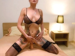 Tanya Virago squirts with real orgasm after 10-inch dildo solo