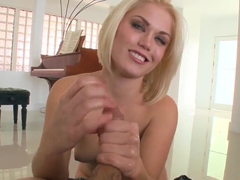 Ash Hollywood sucking huge white cock and gets warm sperm in mouth