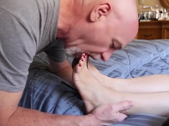 mature foot worship red toenail