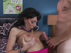 Awesome busty MILF Alia Janine featuring blow job video