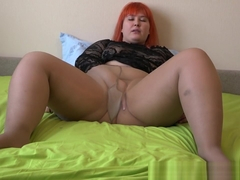 fat lady in nylon pantyhose, anal fucking with rubber dick