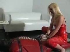 Busty hot blonde sex angel tortures her slave