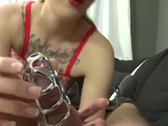 Melody in red fishnet is sounding Cheffie while he's in chastity