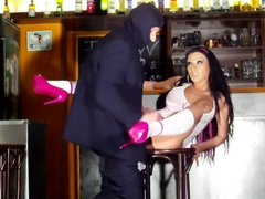 Masked Dude Brutally Bangs a Lush Bartender