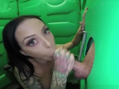 Loud, sloppy deepthroat at the gloryhole ends with a huge load and swallow