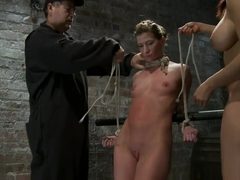 Tightly bound Ariel is cummed n golden showered