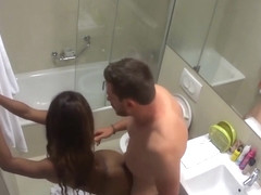 HIDDEN CAM - Rough sex in the Bathroom