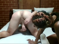 Ebony MILF abuses White Boy&#039_s ass with a whip then shaves his pubes