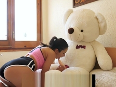 Yoga sex with Valentina Bianco and teddy bear Miguel at villa Fakhera