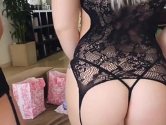 Teen BFFs try on new lingerie and tongue fuck each other