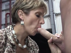Milf hottie Lady Sonia stroking and sucking cock