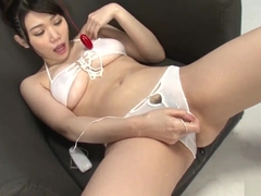 Honami Uehara uses toys to please her cunt while sucking coc
