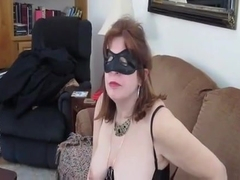 aged masked woman blows and receives sprayed with cum