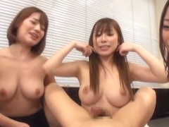 Risa Kasumi and naughty office lady friends in hot gangbang action