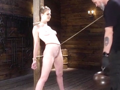 Hogtied slave gets whipped in suspension