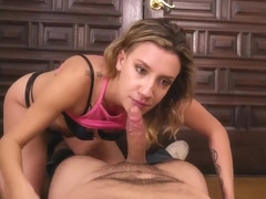 Slutty blonde, Sophia Grace is giving a blowjob to Tony Martinez, instead of his wife