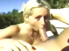 Porn Star Jessica Darlin gives a Blowjob to a guy outside