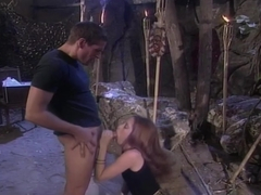 Hot Girl Sucking On Man's Giant Cock