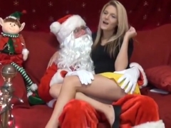 Santa empties his balls into a little cutie