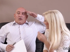 DADDY4K. Old businessman couldn't say no to son's gorgeous girlfriend