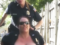 Public alley gets some steamy action from perverted milf officers