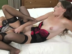 StrapOn Two hot brunette lesbians fucking each other