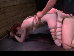 Manhandled Sheena Rose tied and bound then submits to the Master