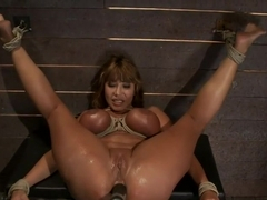 Big Titted MILF Made to squirt all over herself