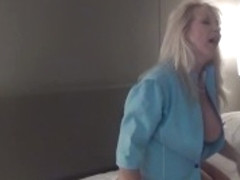Stewardess Christie Cougar fucks passenger