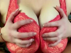 Hot amateur tits fuck - Pov close up tits job from my girlfriend