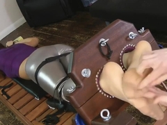 Sophia Smith_tickle her feet in double stocks