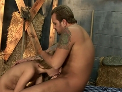 Skinny blonde Lindsey Meadows has a hung guy drilling her hairy peach